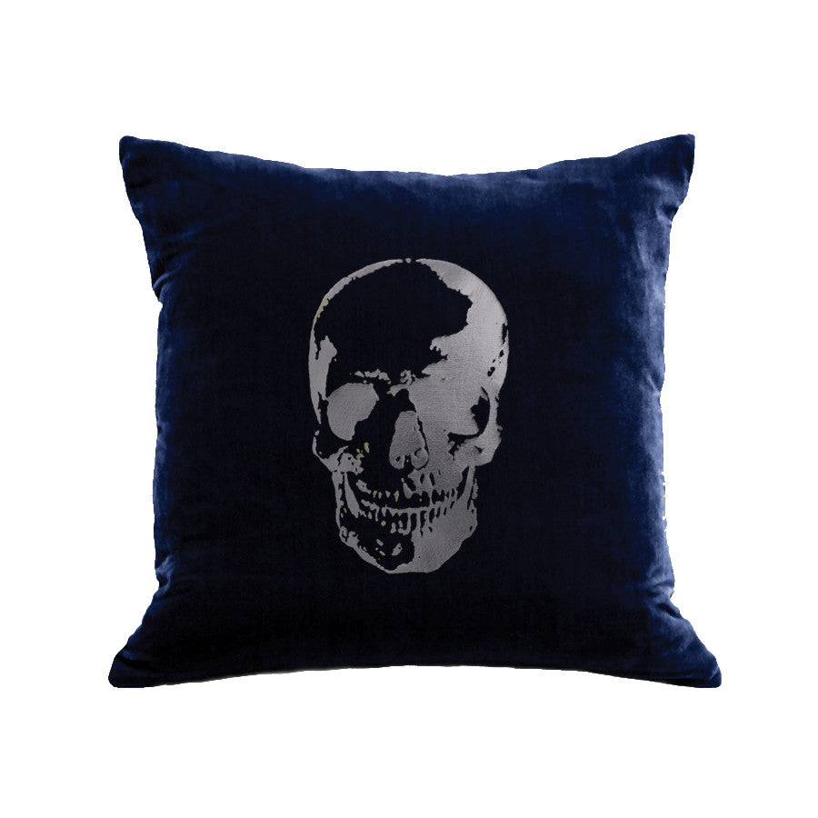 Skull Pillow - navy / gunmetal foil