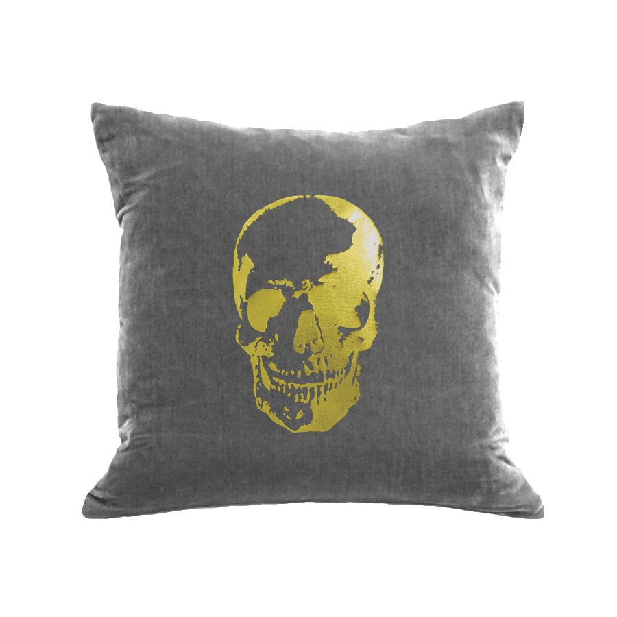 Skull Pillow - platinum / gold foil