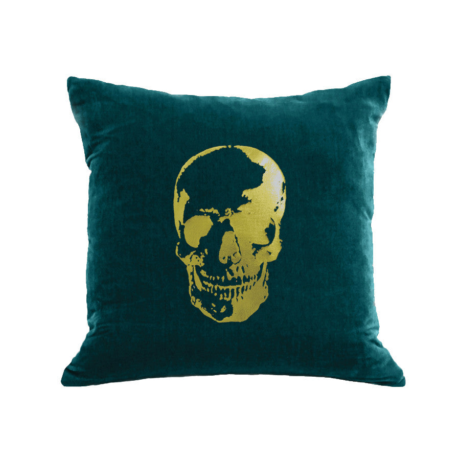 Skull Pillow - teal / gold foil