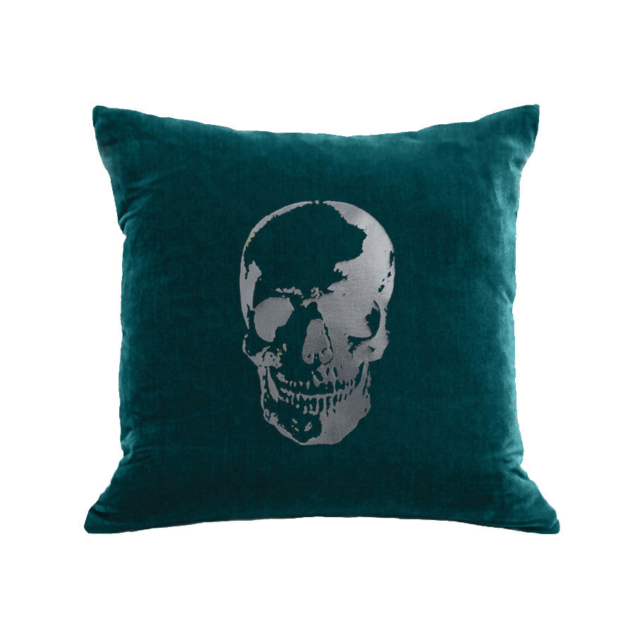 Skull Pillow - teal / gunmetal foil