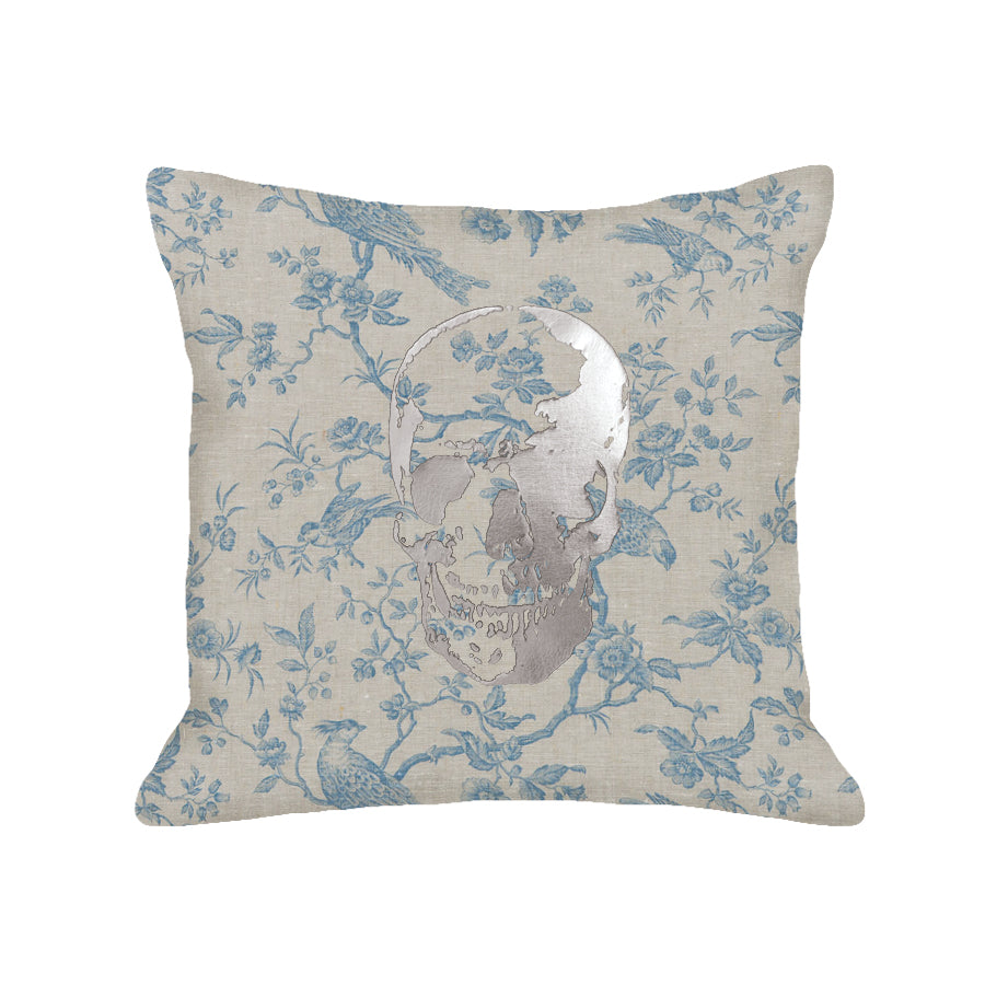 Skull Pillow - toile / gunmetal foil