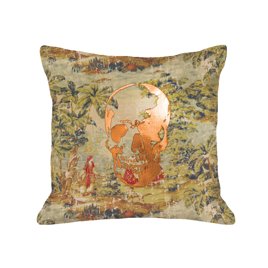 Skull Pillow - tapestry / copper foil