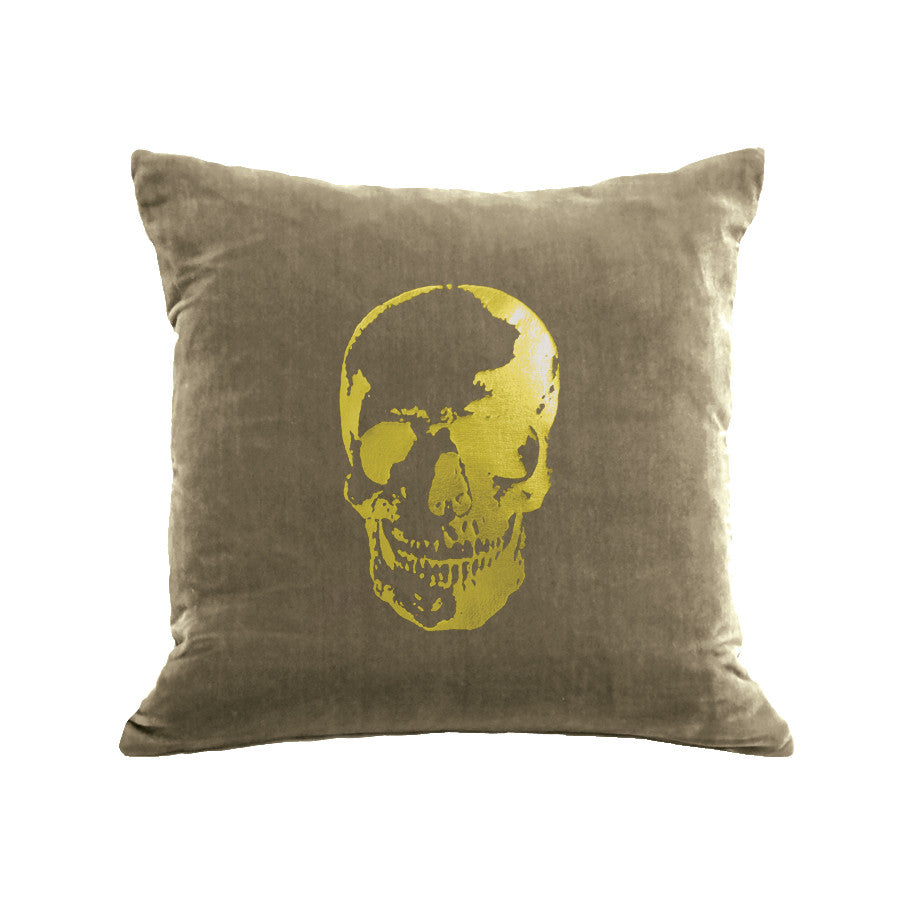 Skull Pillow - willow / gold foil