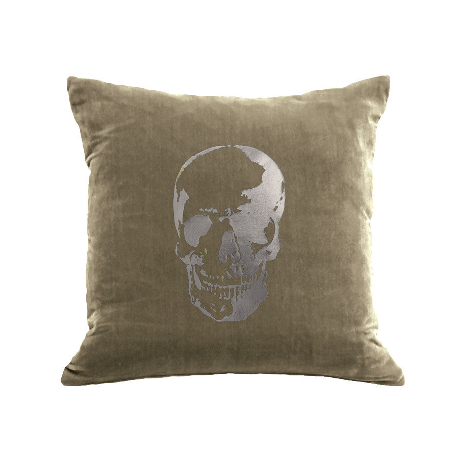 Skull Pillow - willow / gunmetal foil