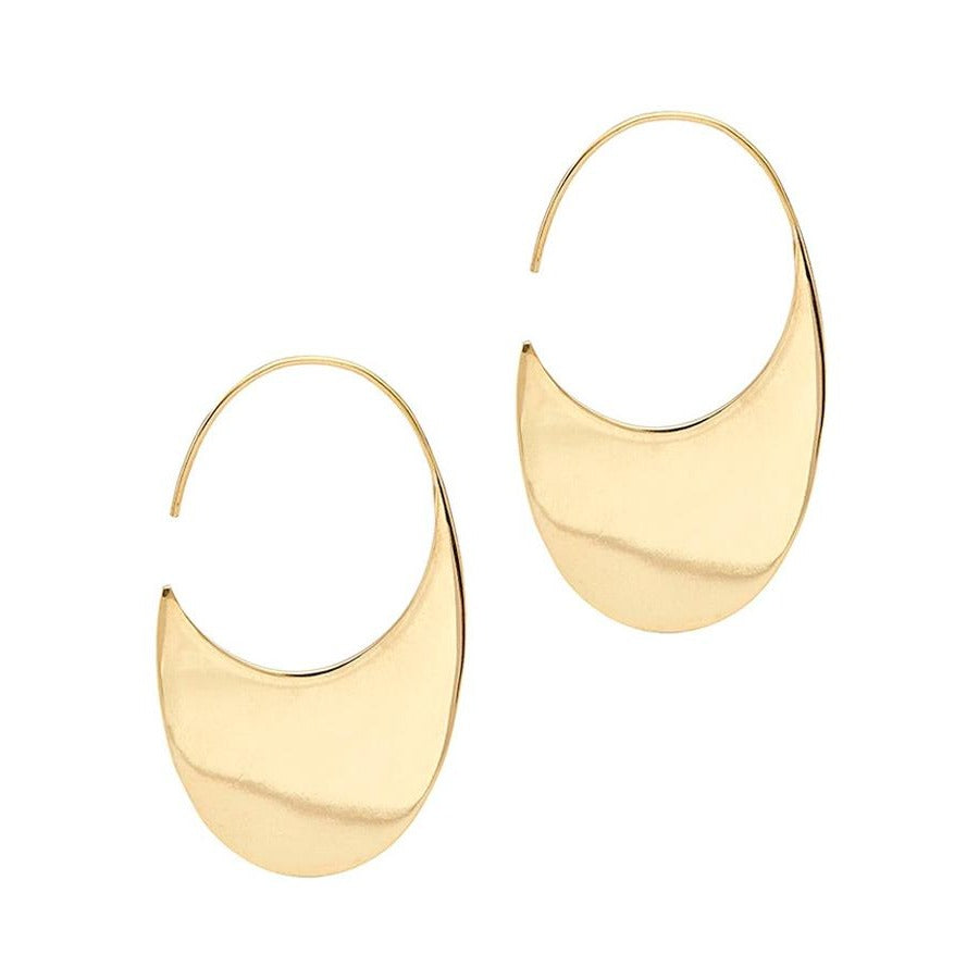 Brass Drama Hoop Threader Earrings