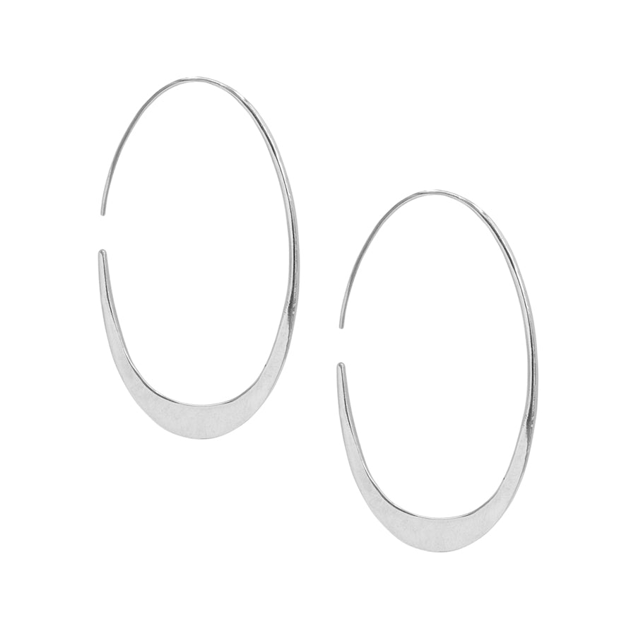 Chrome Tapered Hoop Earrings