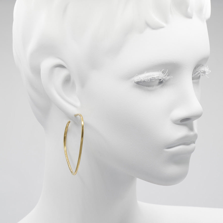 Rounded Brass Triangular Hoop Earrings
