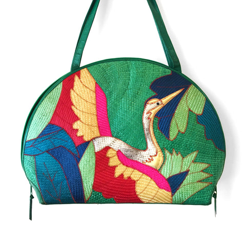 60-70s Hand Tooled Mushroom Leather Bag