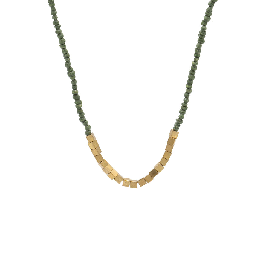 Paper & Brass Bead Necklace | Green