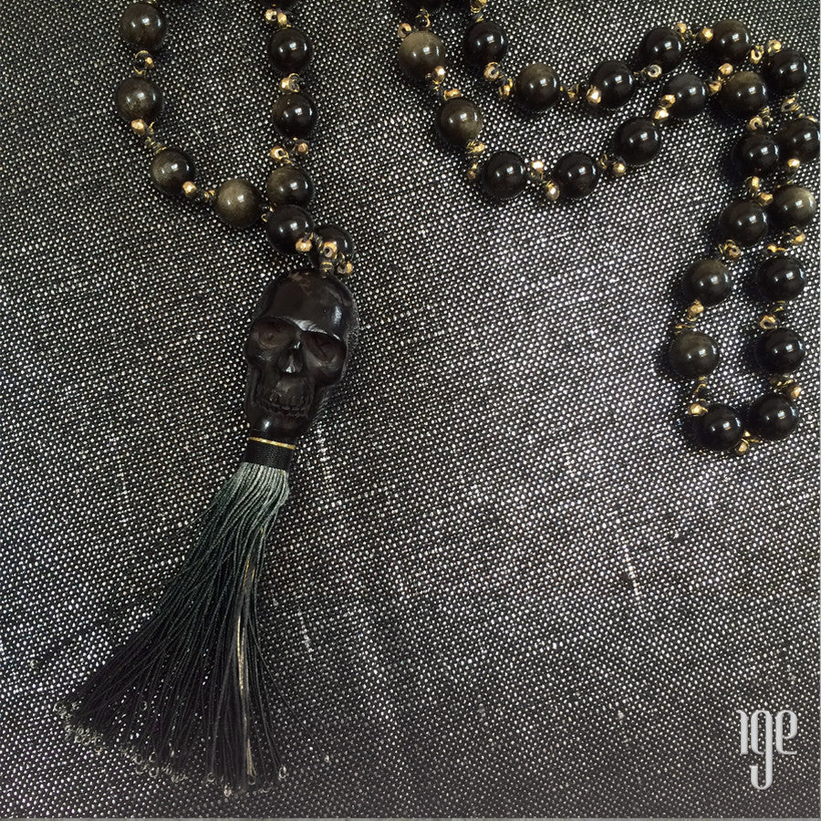 Skull & Tassel Mala Bead Necklace