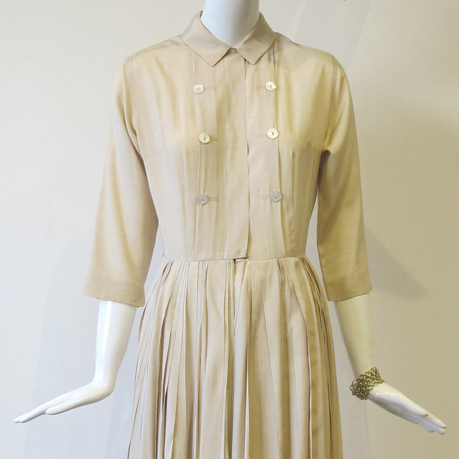 1950's Silk Shirtdress with Knife Pleated Skirt