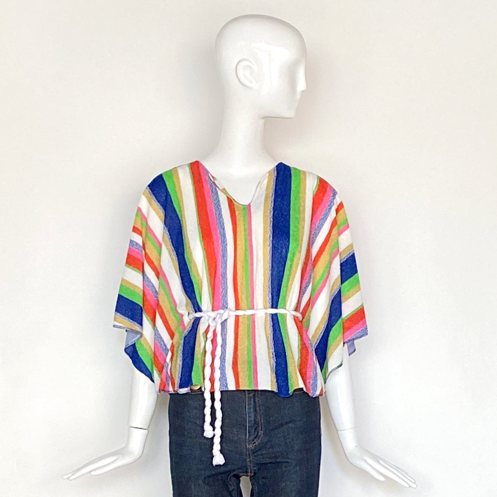 60s Terry Cloth Striped Pullover Top