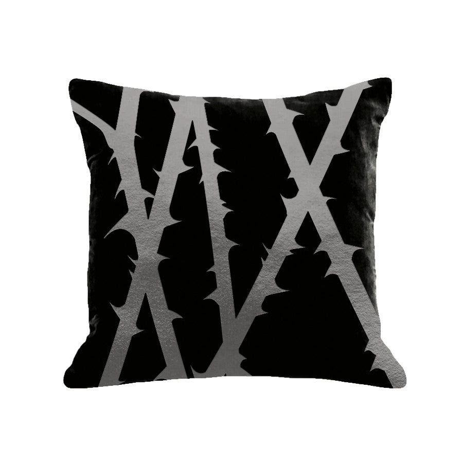 Thorn Pillow - black / gunmetal foil / 18 x 18