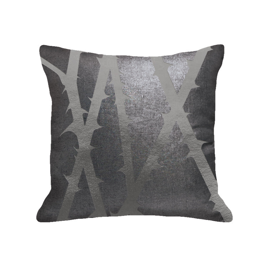 Thorn Pillow - linen black / gunmetal foil / 18 x 18