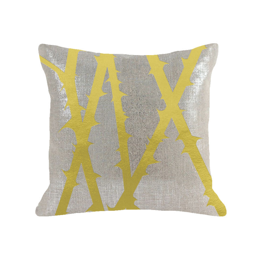 Thorn Pillow - linen oatmeal / gold foil / 18 x 18