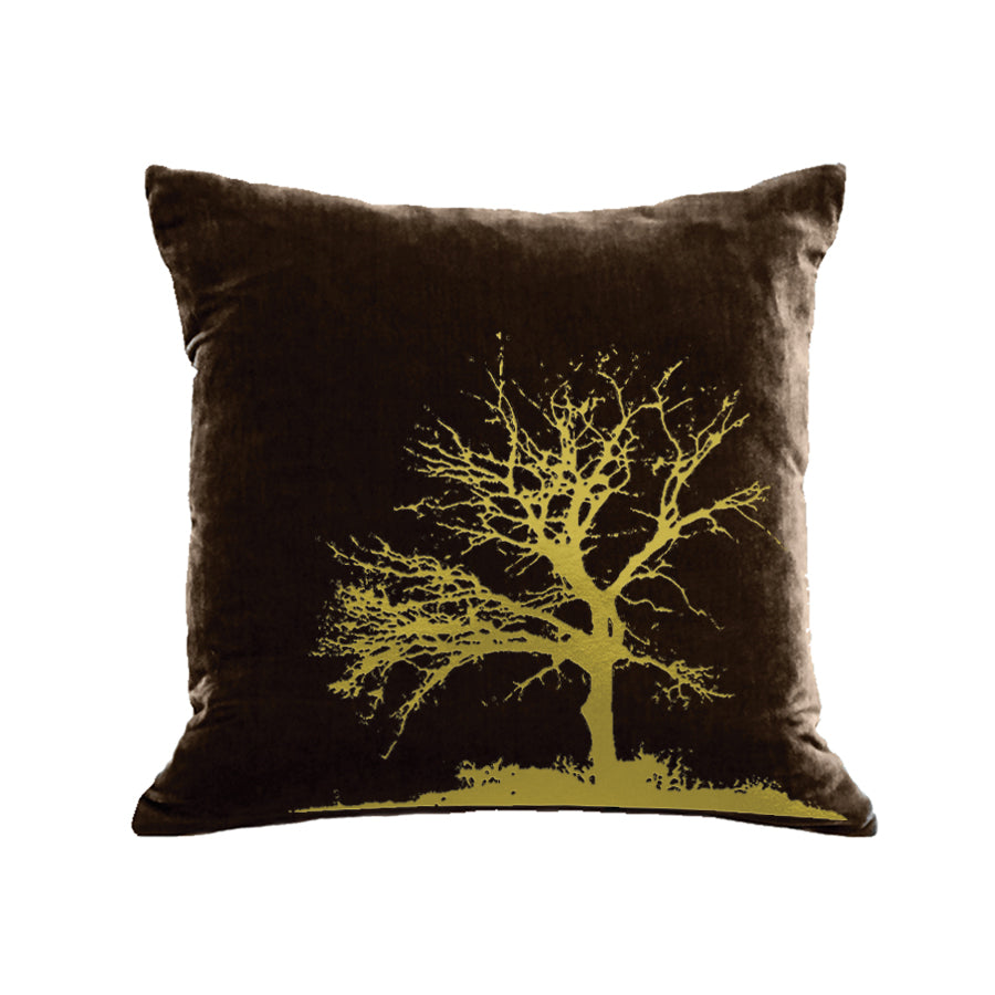 Tree Pillow - chocolate / gold foil