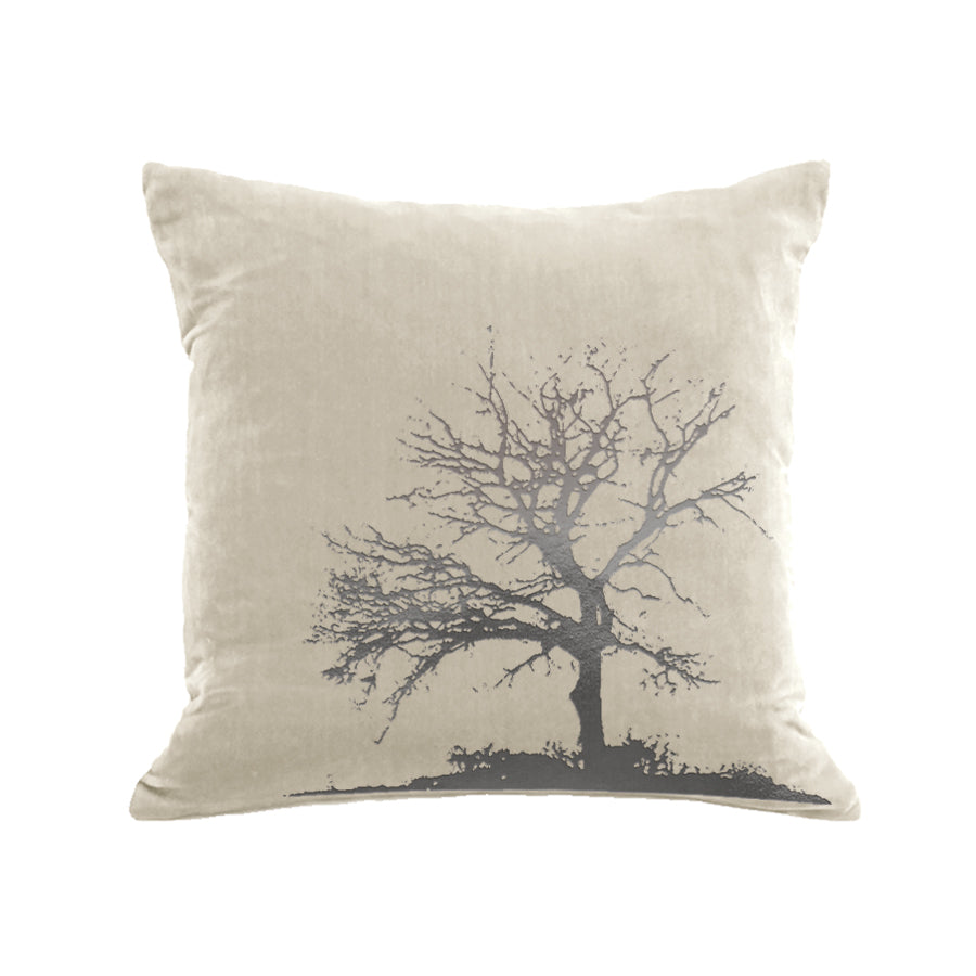 Tree Pillow - cream / gunmetal foil