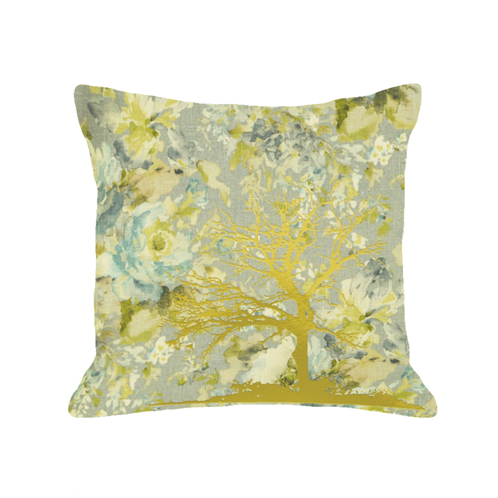 Tree Pillow - light floral / gold foil