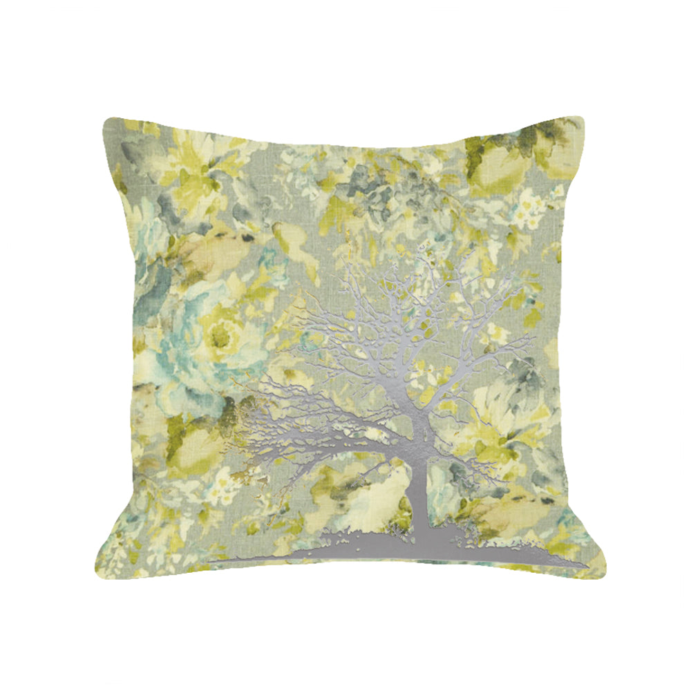 Tree Pillow - light floral / gunmetal foil