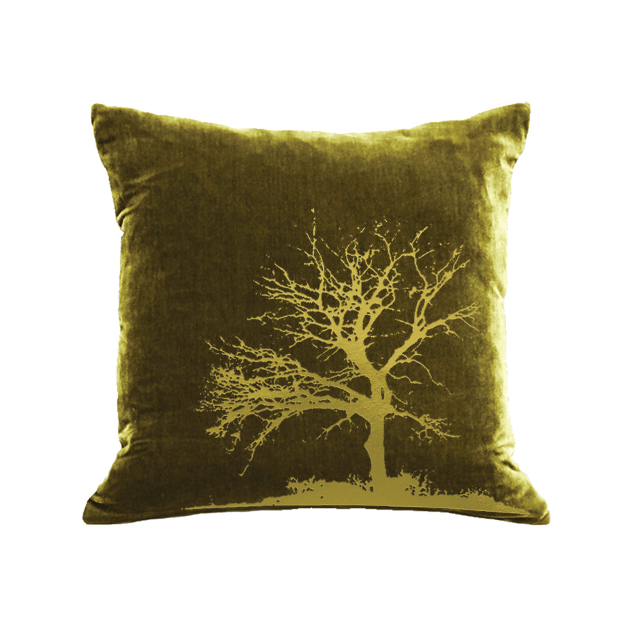 Tree Pillow - moss / gold foil