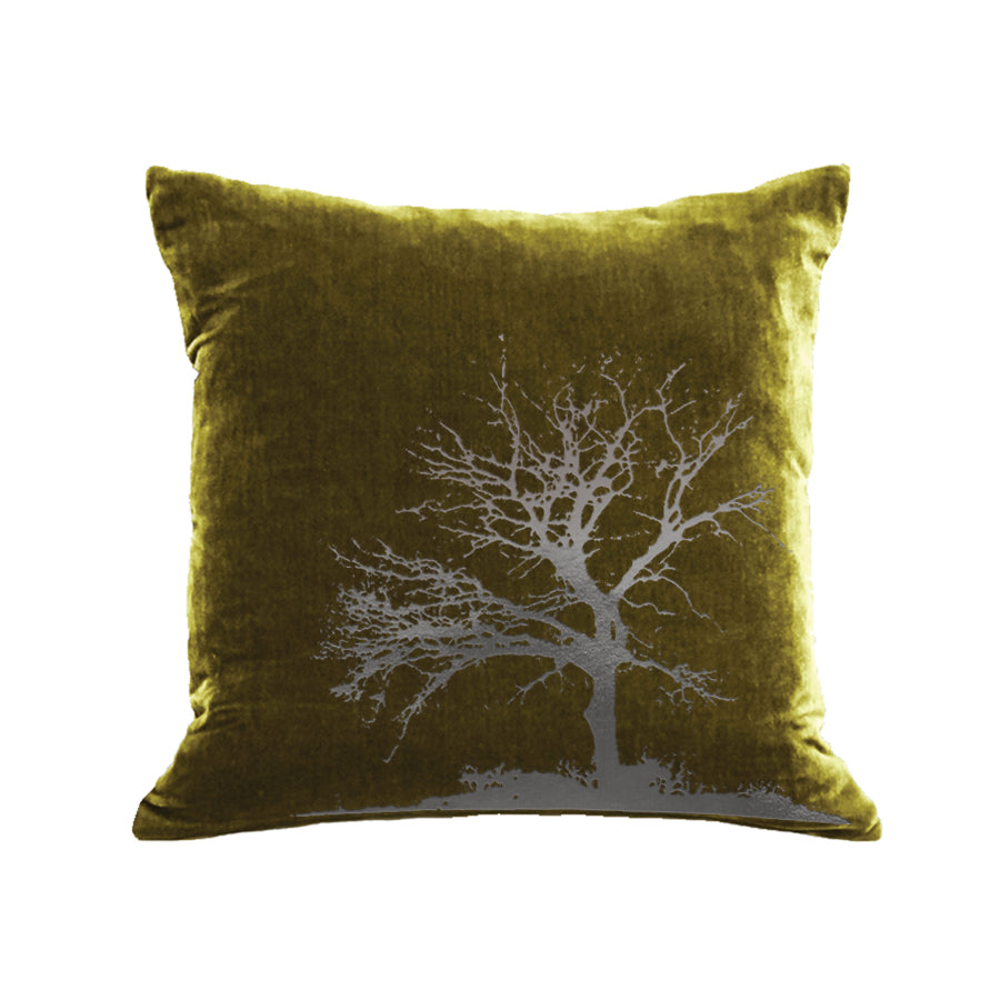 Tree Pillow - moss / gunmetal foil