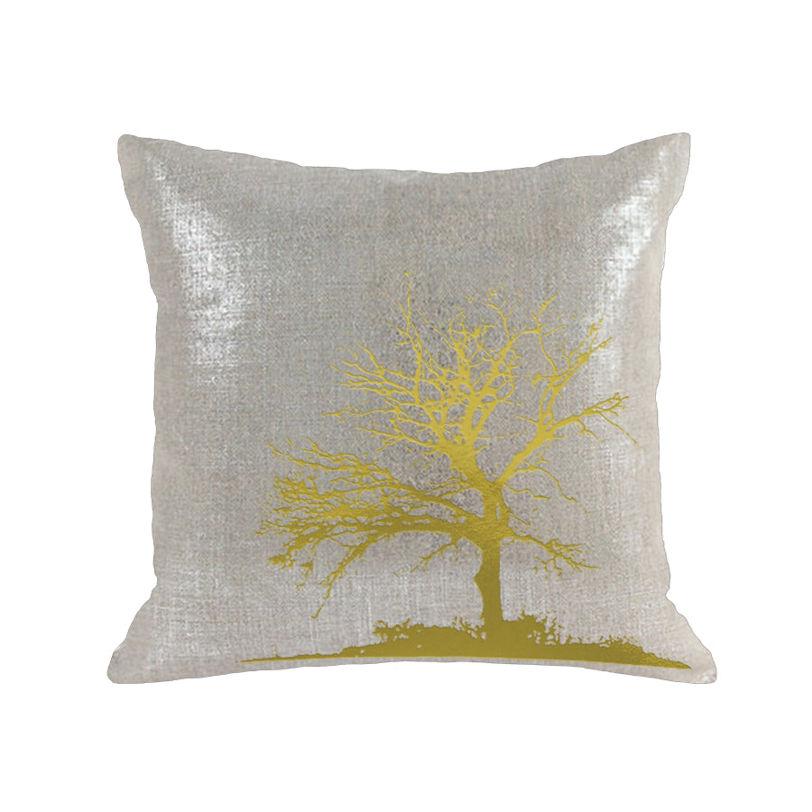 Tree Pillow - oatmeal linen / gold foil