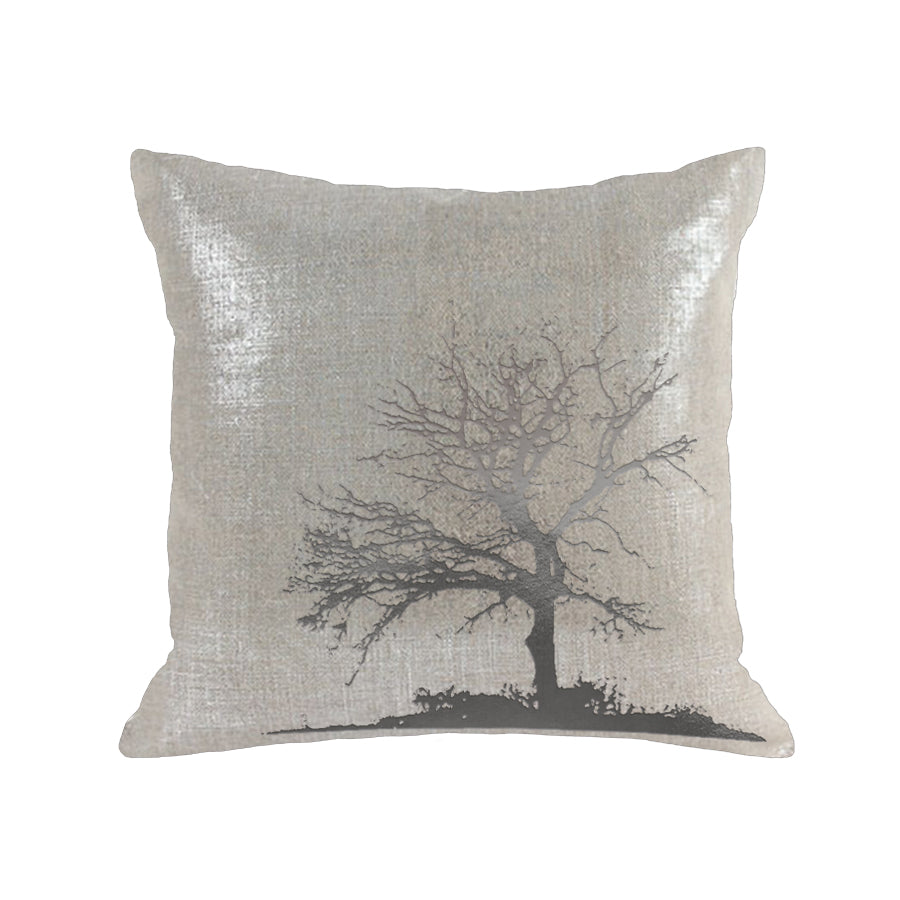 Tree Pillow - oatmeal linen / gunmetal foil