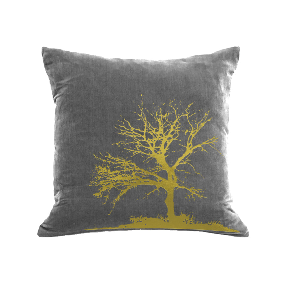 Tree Pillow - platinum / gold foil