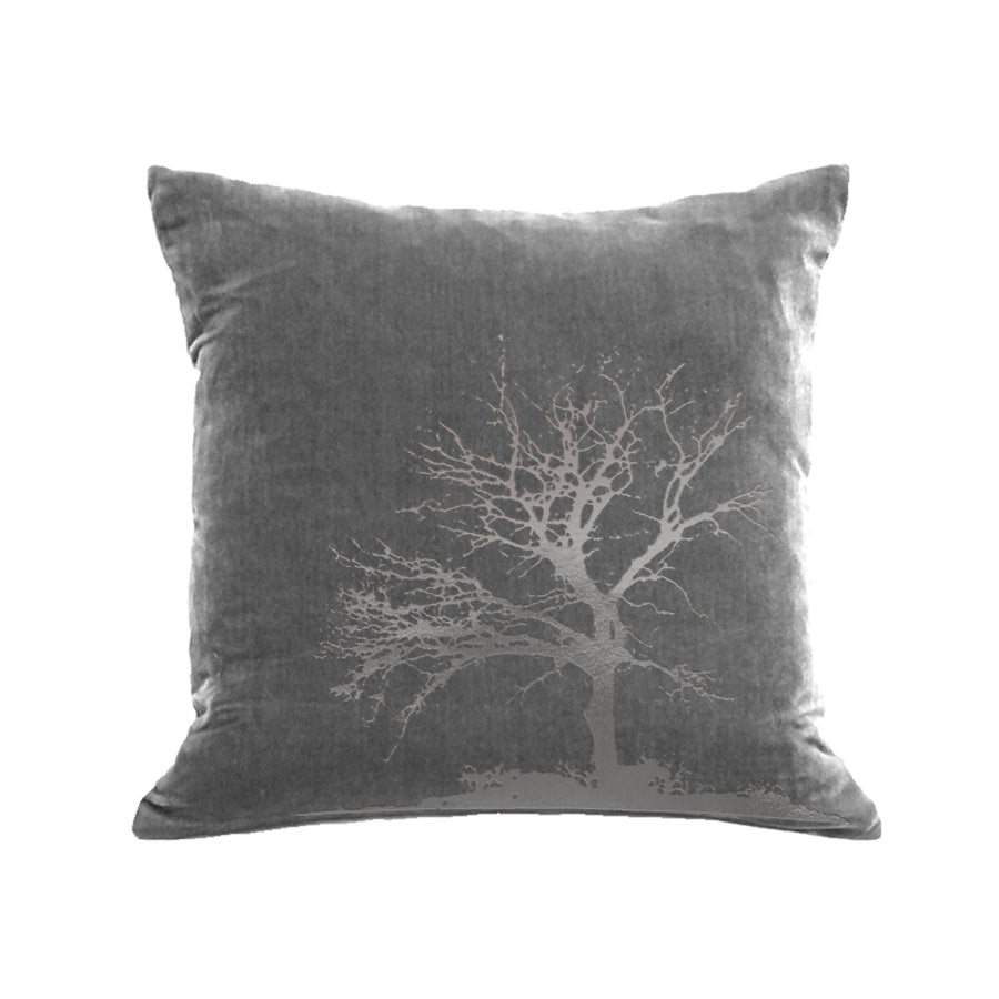 Tree Pillow - platinum / gunmetal foil