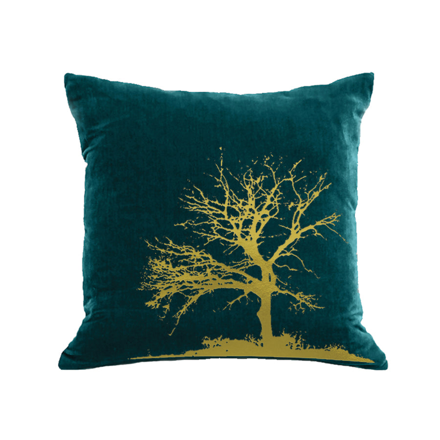 Tree Pillow - teal / gold foil