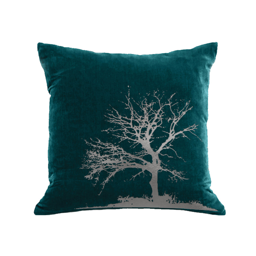 Tree Pillow - teal / gunmetal foil