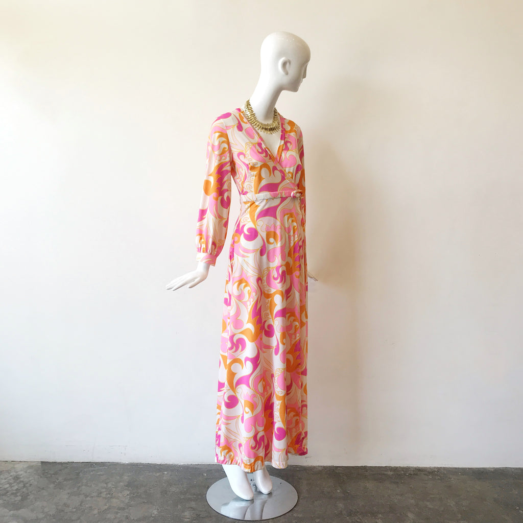60s Wrap Psychedelic Pink Dress/Robe