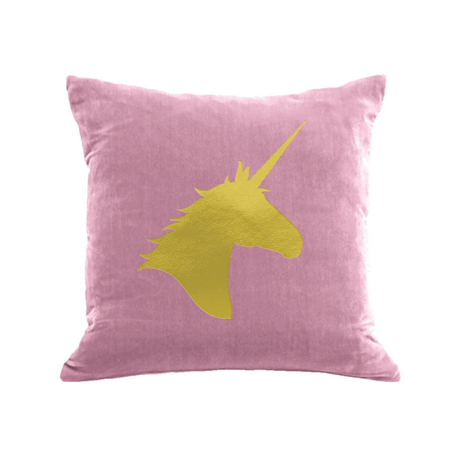 Unicorn Pillow - antique pink / gold foil
