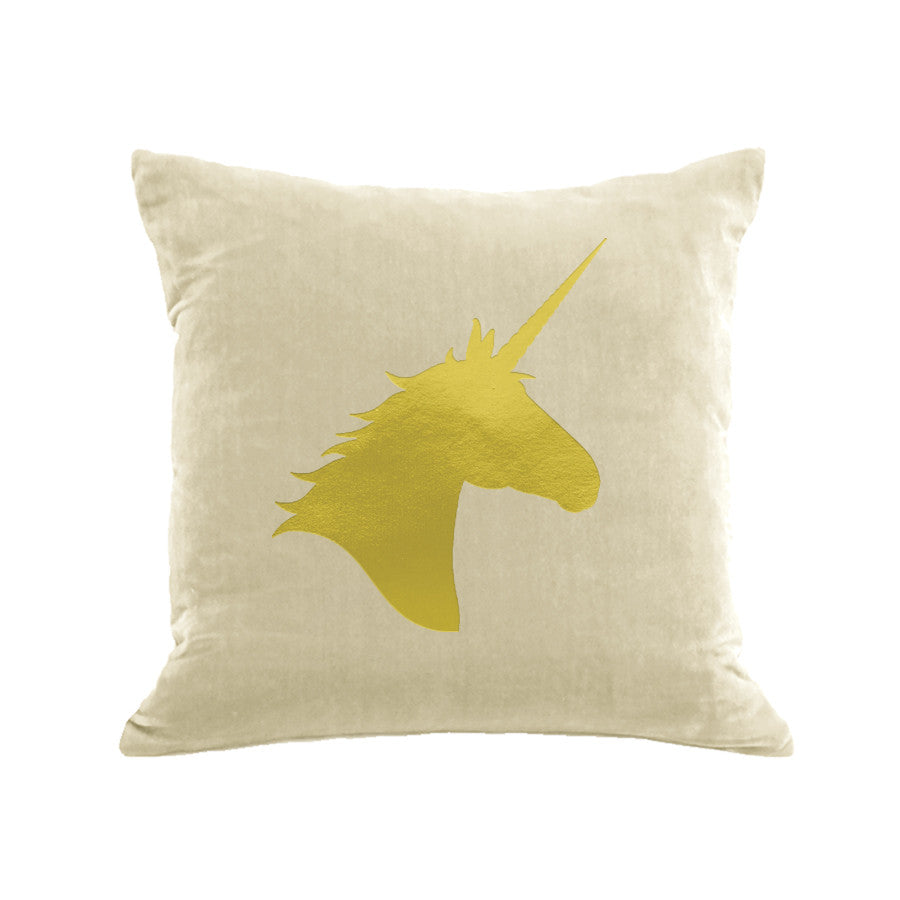 Unicorn Pillow - cream / gold foil