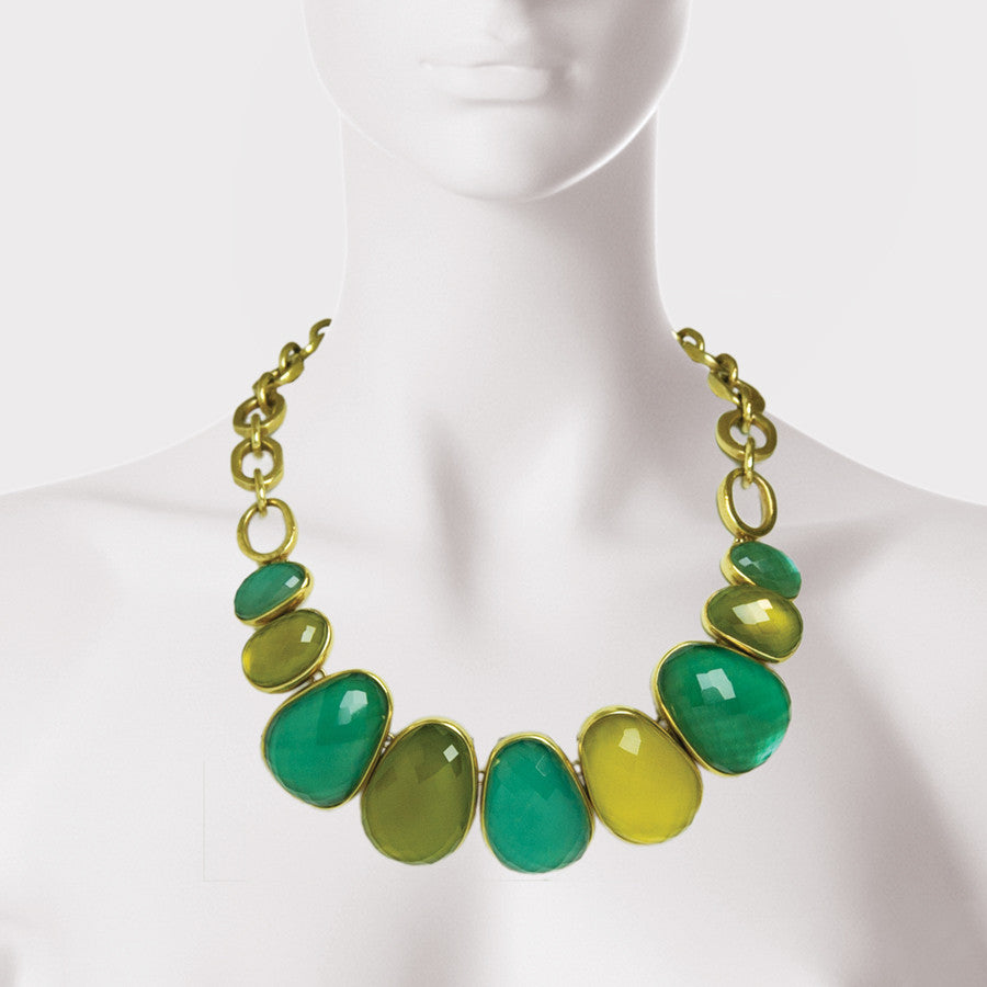 Irregular Stone Bezel Necklace