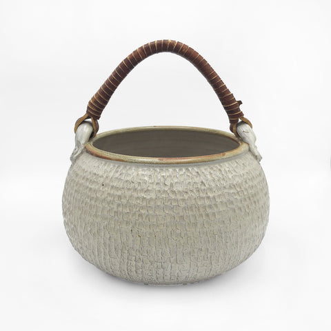 Vintage Ceramic Basket with Leather Handle
