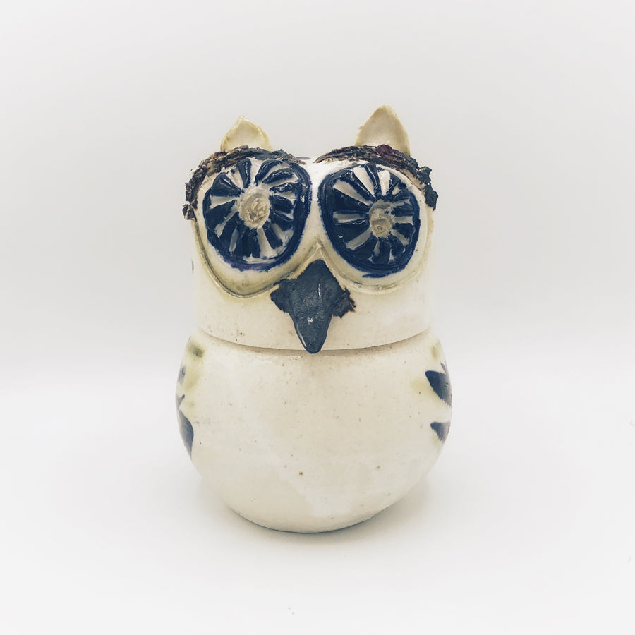 80s Folk Art Handmade Owl Container