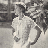 50s Hand Crochet Short Sleeve Cardigan Sweater