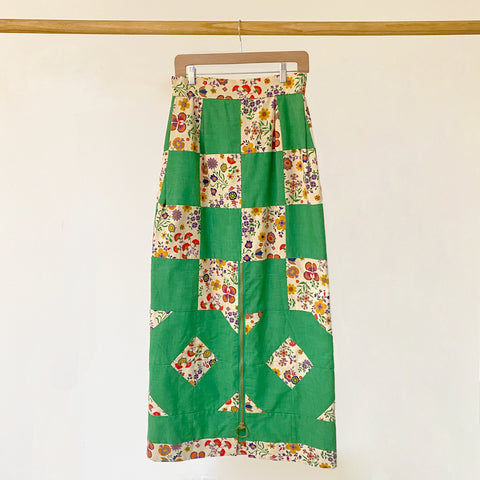 60-70s Cotton Zip Front Patchwork Skirt