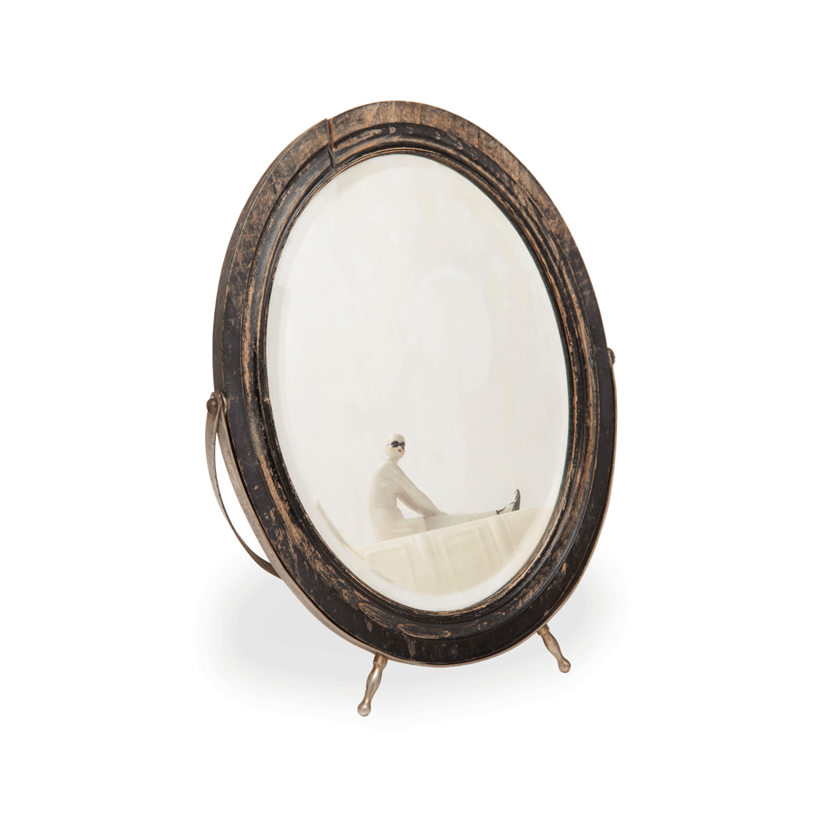 Vintage Oval Wooden Easel Back Mirror