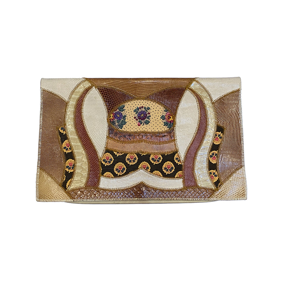 RARE | 1980's Patchwork Leather and Floral Fabric Clutch