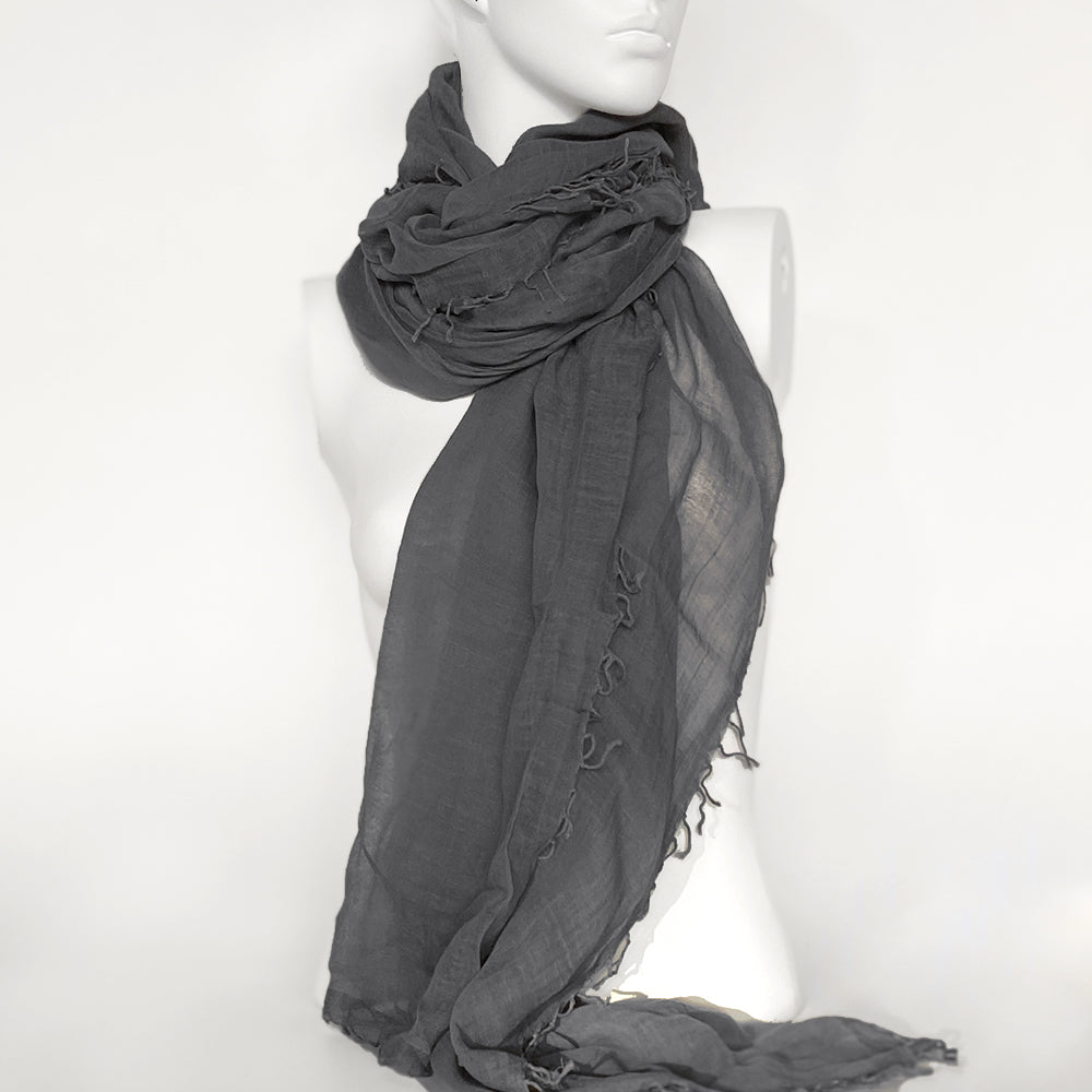 Cloud Whisper Cotton Scarf | Grey