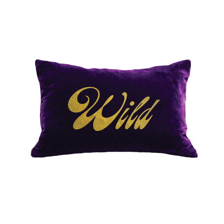 Wild Pillow - grape / gold foil