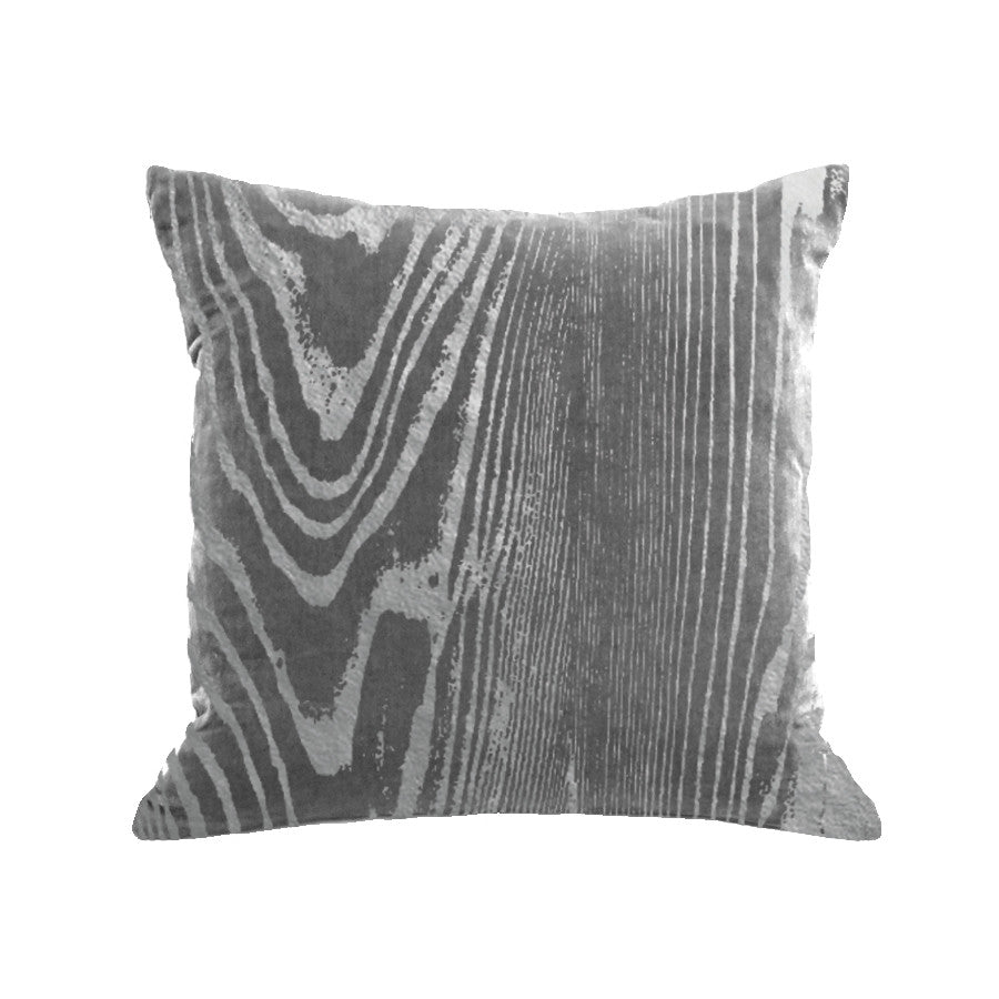 Woodgrain Pillow - platinum / gunmetal foil / 18x18