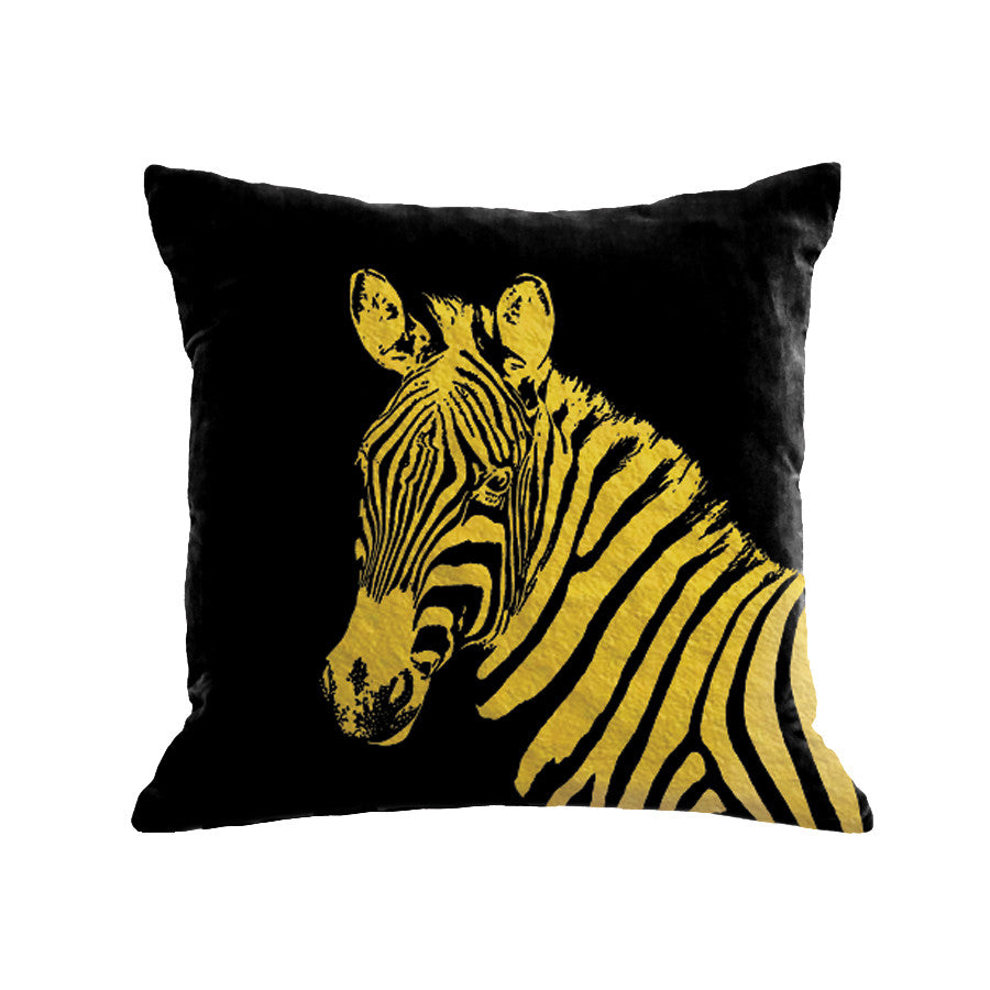 Zebra Pillow - black / gold foil