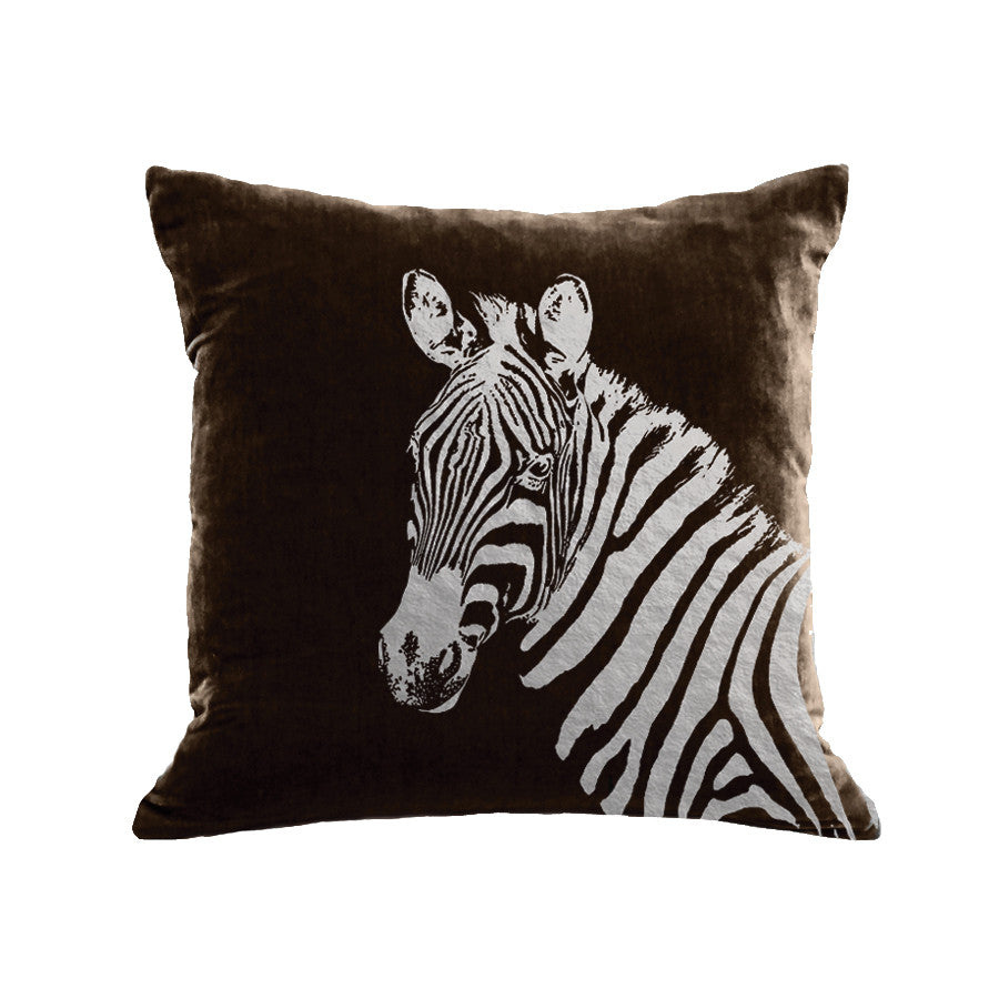 Zebra Pillow - chocolate / gunmetal foil