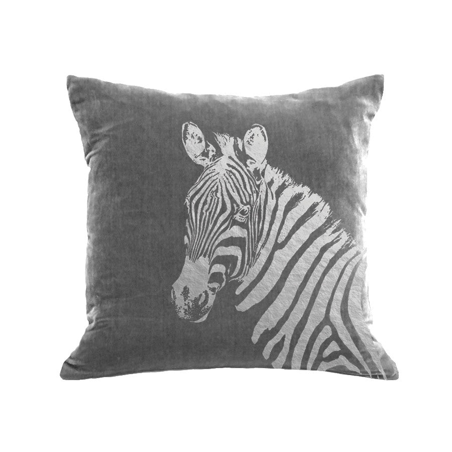 Zebra Pillow - platinum / gunmetal foil