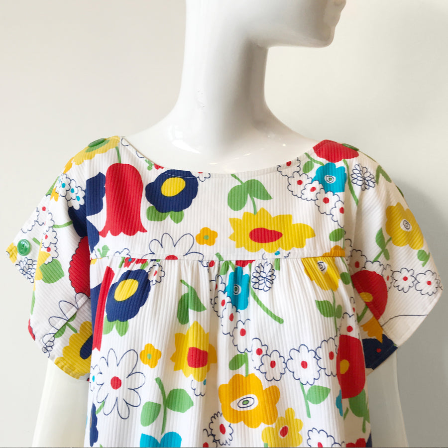 Handmade 60-70s Illustrated Flower Print Muu Muu