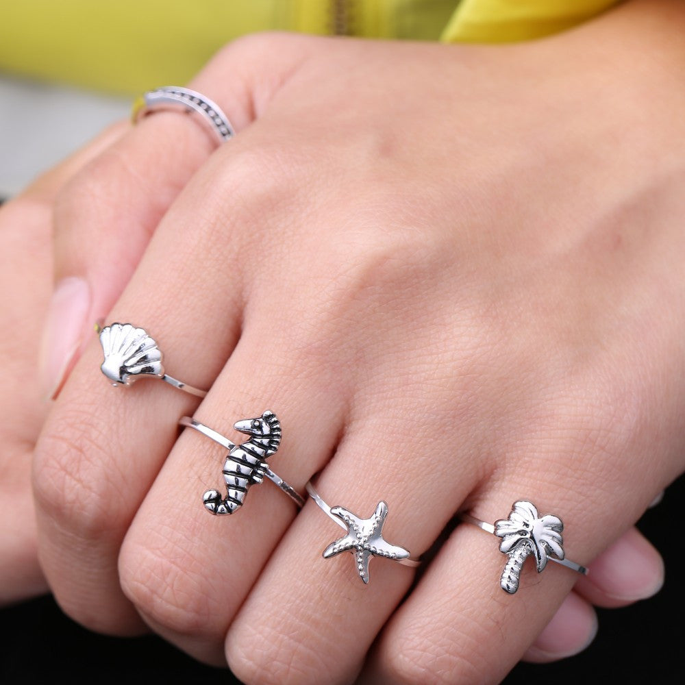 Beach Girl Set of 5 Rings - My Sparkles Store