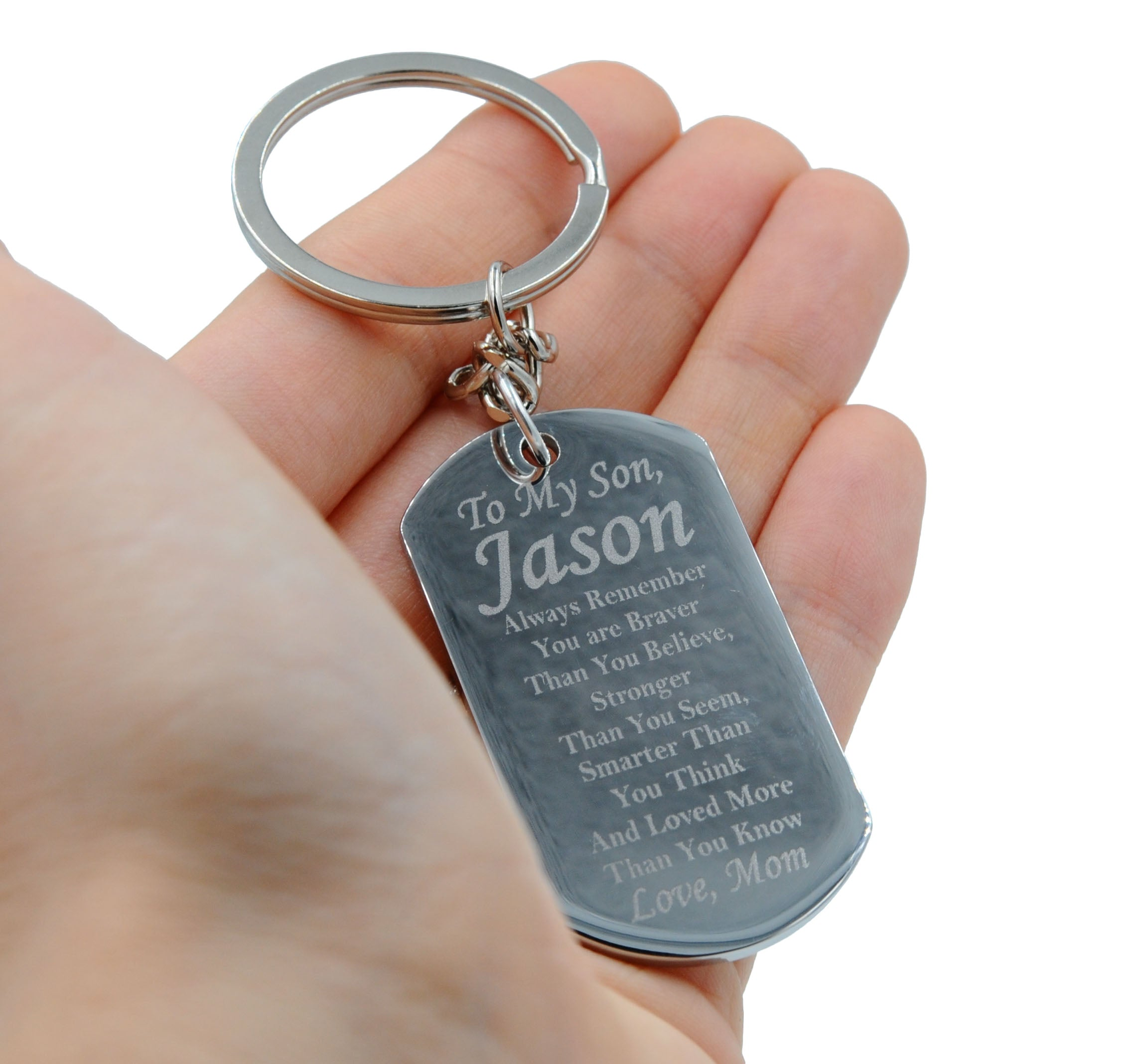 Personalized Stainless Steel To My Son Dog Tag Necklace or Key Chain w - My  Sparkles Store b160738d64